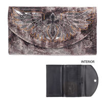 Blazin Roxx Western Womens Wallet Flap Winged Cross Black Brown W/grey N7521801
