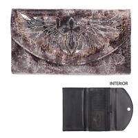 Blazin Roxx Western Womens Wallet Flap Winged Cross Black Brown W/grey N7521801