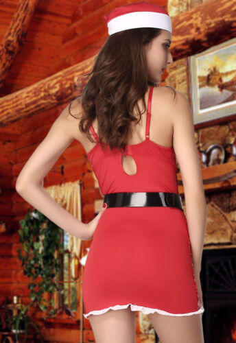Women/'s Naughty Nice Red Twinkling Santa Outfit Christmas Fancy Dress Costume