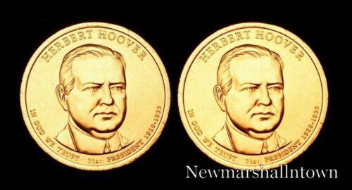 2014 P+D Herbert Hoover Presidential Dollar Set ~ Random Pos ~ From Mint Roll