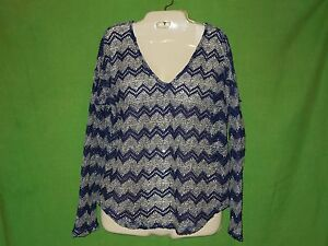 Vintage-Havana-sweater-knit-pullover-size-L-blue-white-v-neck-long-sleeve