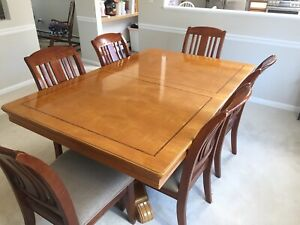 Details about 7 Piece - Cherry and Maple - Hardwood Dining Room Table &  Chairs