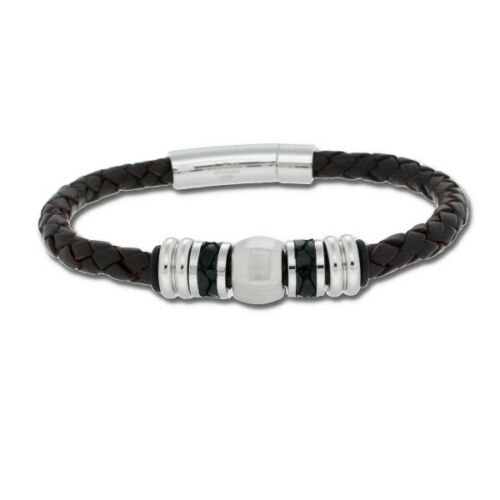 CEM Bracelet Homme Bijoux Cuir Marron Foncé 21,5 cm 4-200094-001