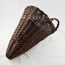 "Cone Shaped Wall Hanging Wicker Basket for Garden Large 12"" / 16"",  30/40cm"