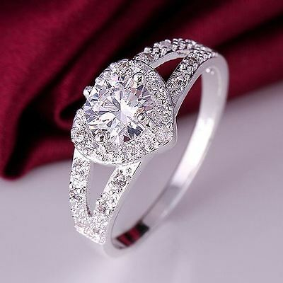 beautiful Fashion Solid silver women Crystal Wedding Lady heart Ring jewelry hot