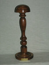 WOODEN HAT WIG STAND DARK OAK WOOD ENGRAVED HANDMADE BARRISTERS JUDGE ETC