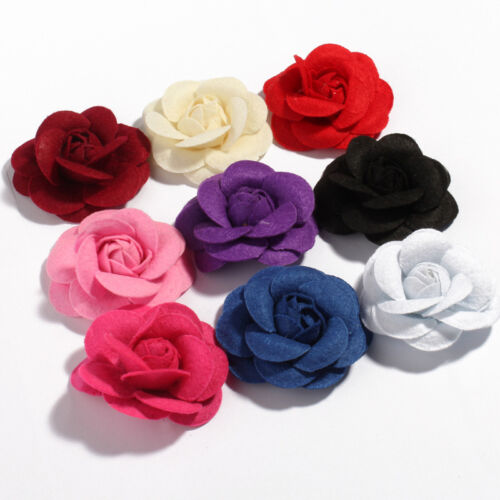 Rolled Petal Rose Hair Nonwovens Fabric Flowers with leaves For Headbands 30pcs