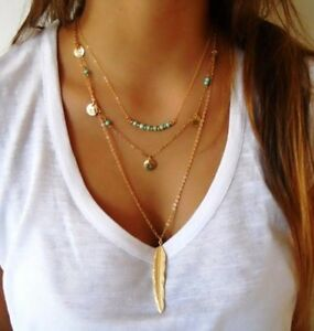 Bohemian-3-Chain-Gold-Colour-Feather-Pendant-Turquoise-Beads-Boho-Style-Necklace