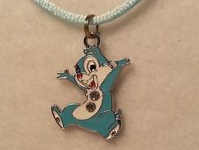 """Blue """"Chip & Dale's"""" Dale Pendant on Blue Satin Cord Necklace w/Lobster Clasp"""