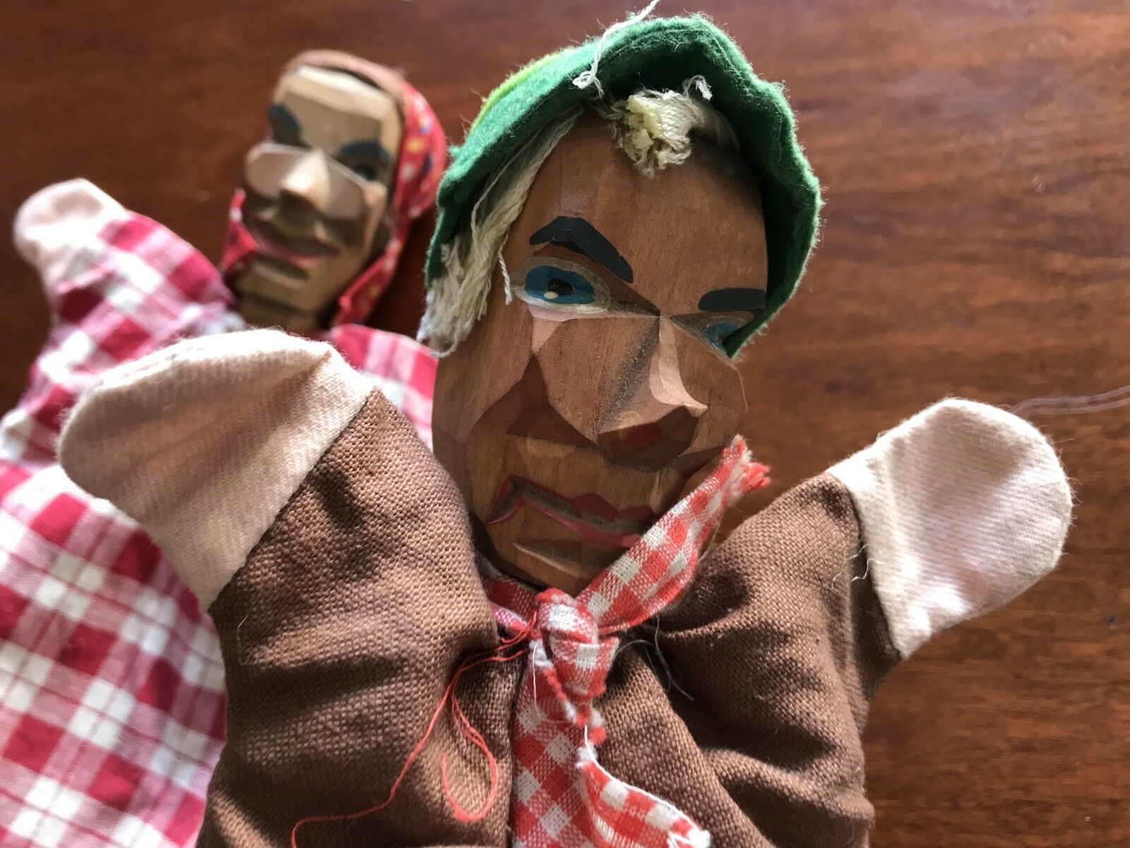 Antique Lot Of Two Hand Or Finger Puppets Carved Wooden Heads