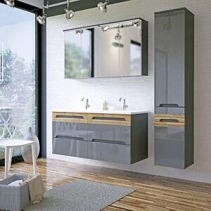 Details zu Badmöbel Set GALAXY 120 mit Doppelwaschbecken GRAU HOCHGLANZ /  EICHE MATT LED