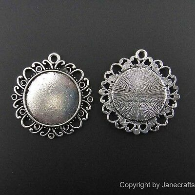 20/100pcs 25mm Pendants Cameo Cabochon Setting Base Antique Style Silver Round