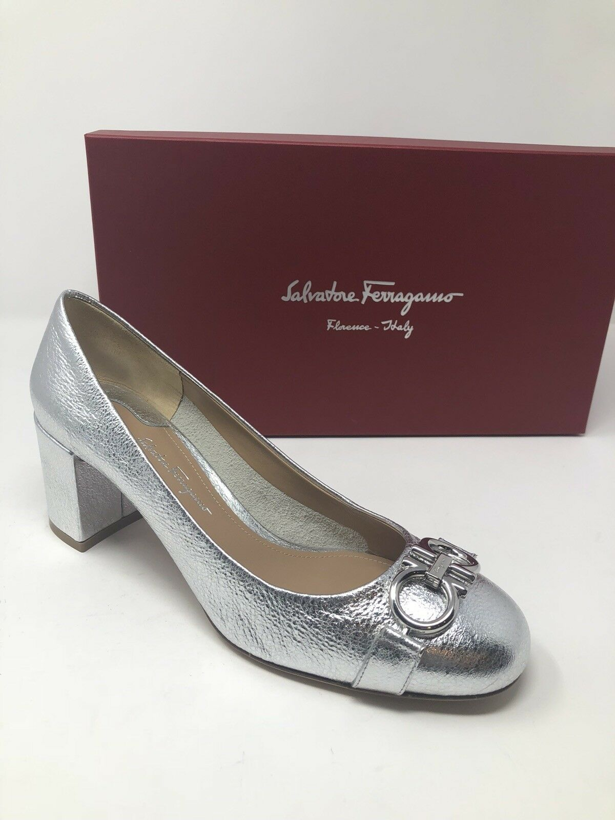 600 New Salvatore Ferragamo Womens Silver Heels Pumps Ladies shoes Size 7.5 C