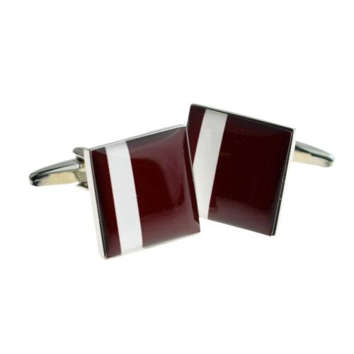 Burgundy with Off Centre White Stripe Cufflinks X2F064
