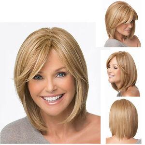 New-Womens-BOBO-Short-Straight-Blonde-Golden-Brown-Mixed-Hair-Wig-Wigs-Pop