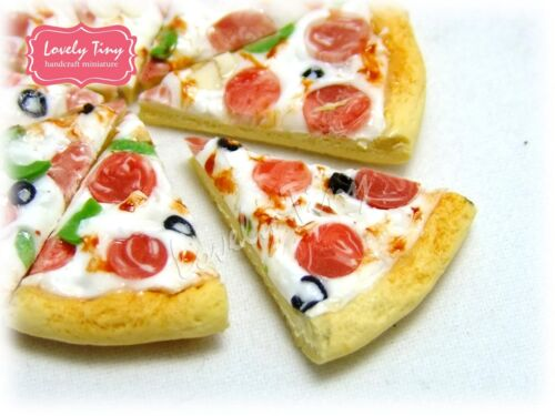 Whole Pan Dollhouse miniature Sliced Pizza Deluxe Pizza,Free ship 8 pieces