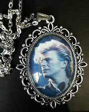 David Bowie Large Antique Silver Pendant Necklace Music Icon 80s Blue