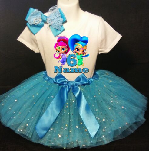 Shimmer and Shine--With NAME--6th Birthday Dress shirt 2pc turquoise Tutu outfit