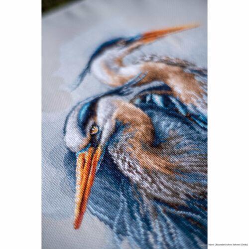 "counted Lanarte cross stitch kit /""Great blue herons/"" DIY"