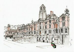 A3-Art-Print-of-Dartmouth-Royal-Naval-College-Hand-Sketched-Navy-Military-Art