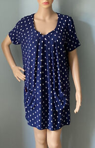 Joules Womens polka dot Shift Tunic dress Uk size 12 Blue And White Pockets Exc