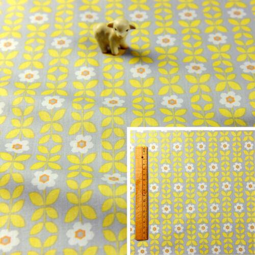 YELLOW GREY Fat Quarter//Meter Cotton Fabric FQ Retro Floral B Craft Quilt Sew