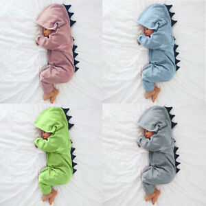 b8d8a4f25 Kids Infant Baby Boy Girl Dinosaur Hooded Romper Jumpsuit Clothes 3M ...