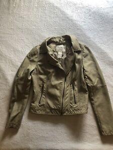 American-Rag-Womens-Tan-Faux-Leather-Jacket-Size-Medium