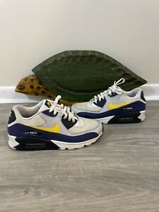 """Details about NIKE AIR MAX 90 ESSENTIAL """"Michigan"""" AJ1285 101 Size 10 Blue Yellow Gold"""