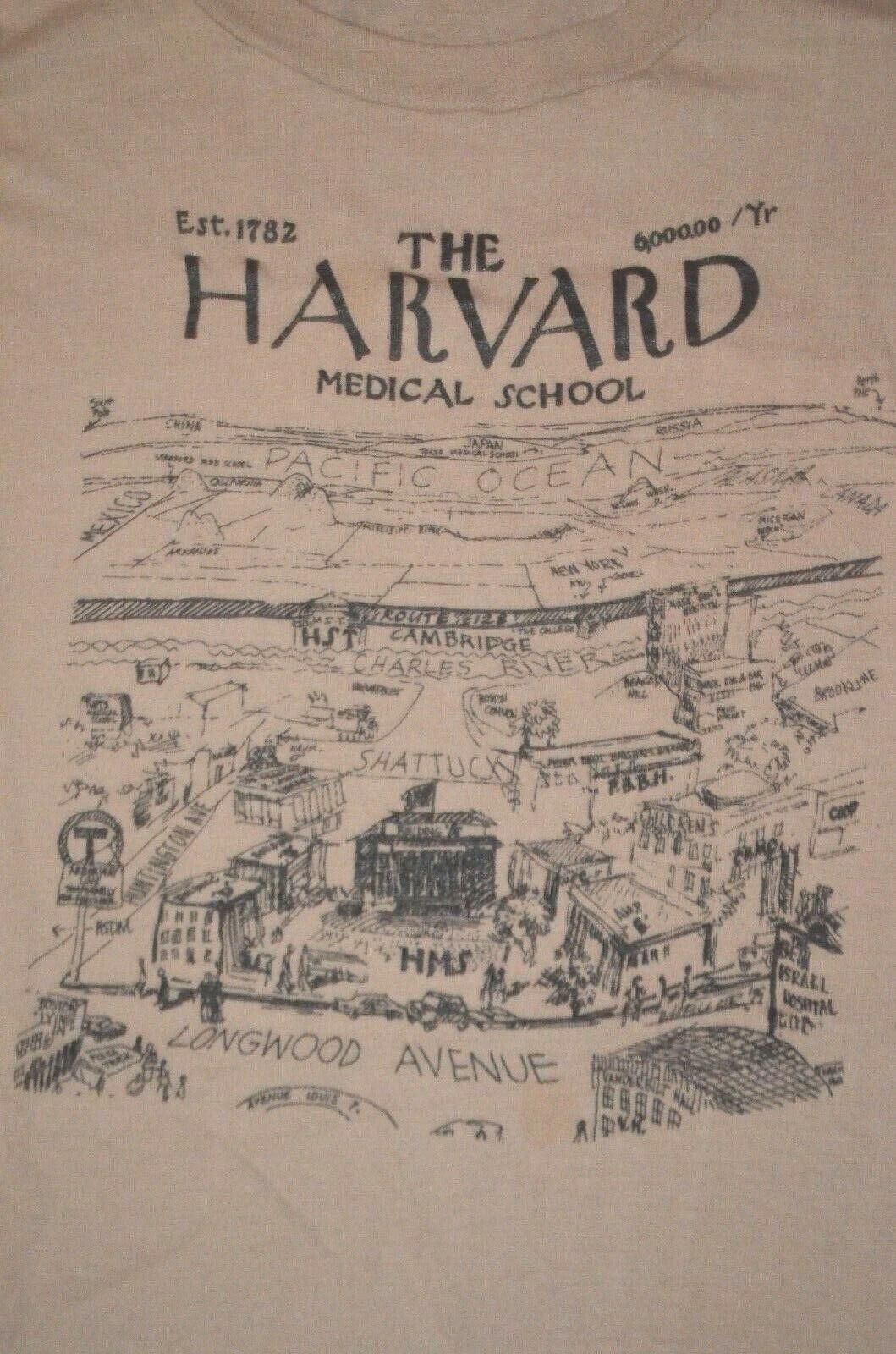 true vtg 1970s HARVARD Medical School L t shirt (modern S) USA made 100% cotton 1