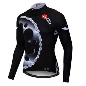 Uomo Abbigliamento Ciclismo in jersey Bici Bicicletta Ruota Invernale Giacca A Maniche Lunghe Top