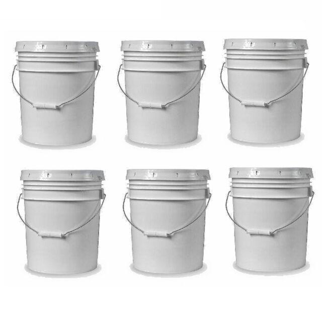 5-gallon White Plastic Bucket w/ Handle Lid Food Grade Kitchen Storage Container  sc 1 st  eBay & COMMERCIAL PLASTIC BUCKET 5-Gallon Food Grade White All Purpose ...