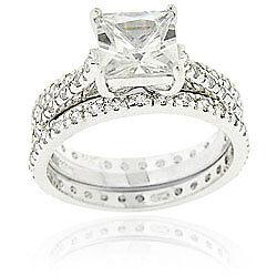 PLATINUM SS LC DIAMOND ENGAGEMENT RING SET SZ 5,6,7,8,9