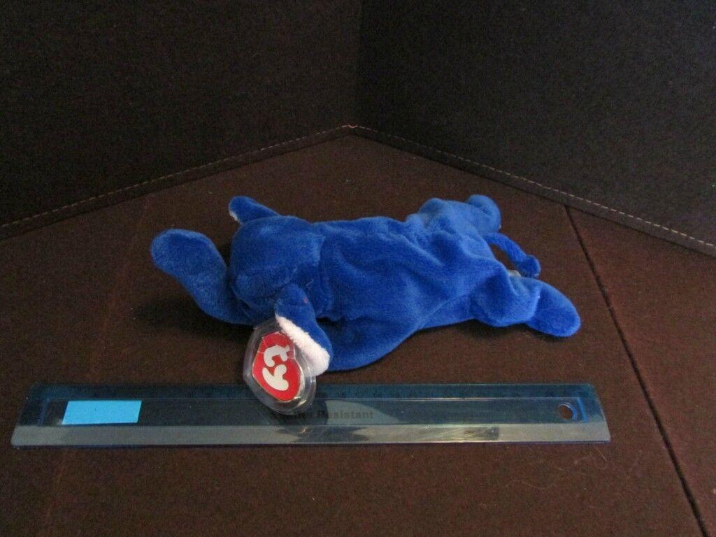PEANUT    -    Royal  bluee Beanie Baby Elephant Plush Stuffed      (RARE   )