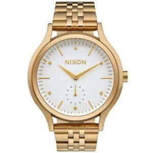 Nixon-A994508-Sala-Gold-White-Dial-Stainless-Women-039-s-Quartz-Analog-Watch