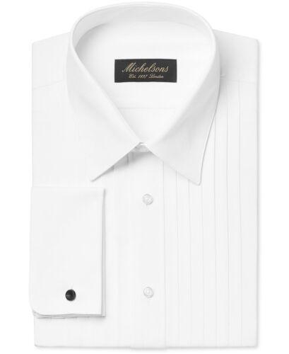 Neuf avec étiquettes 275 $ Michelsons Hommes Fit Blanc-Français Manchette Smoking Bouton Chemise Habillée 15 32//33