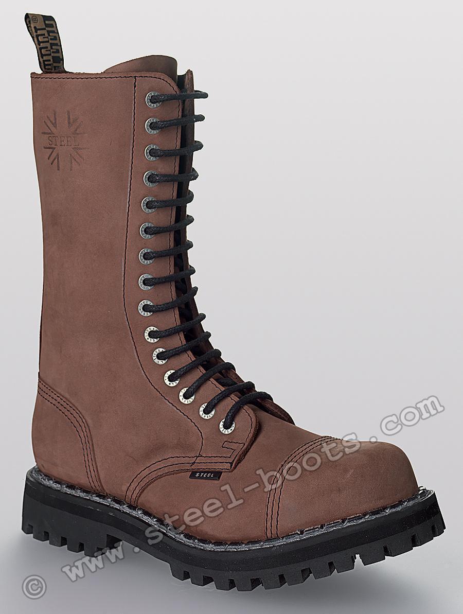 Steel Stiefel 15 Loch Springerstiefel Leder made in EU Stiefel Leder Springerstiefel braun Stahlkappe 42 d4fe05