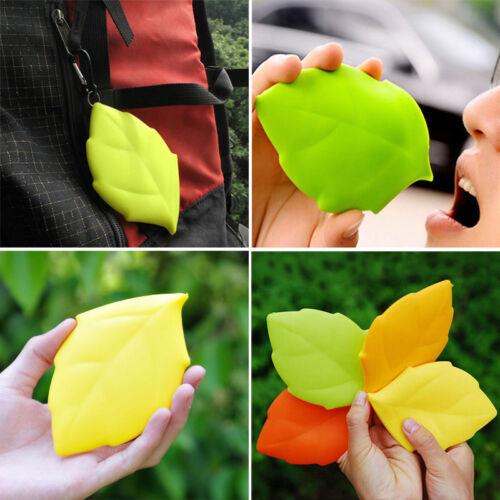 Santé Silicone Tasse Voyage Leaf Shape Camping Randonnée Outdoor Pocket Drink Cup YZ