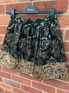 Forever-New-Black-Gold-Short-Skirt-Metallic-8-BNWT-Zip-Up-Ladies-Races-Party