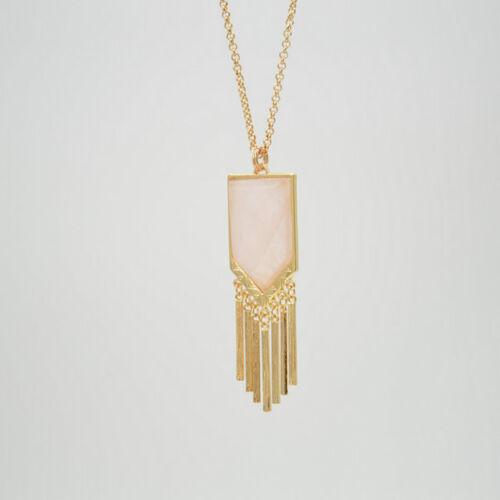 Fashion Gold Plated Geometric Shape Rose Quartz Pendant Necklace