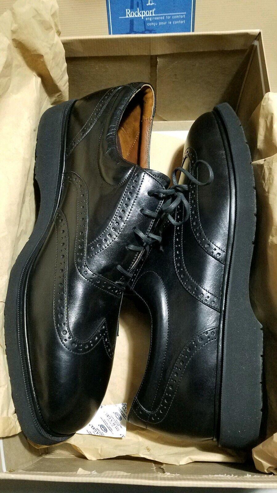 - Es Vintage 1990s AS nuevo viejo stock USA Sz.13M Hombres Negro ROCKPORT MM378 Zapatos deportivos de vestir de extremo de ala