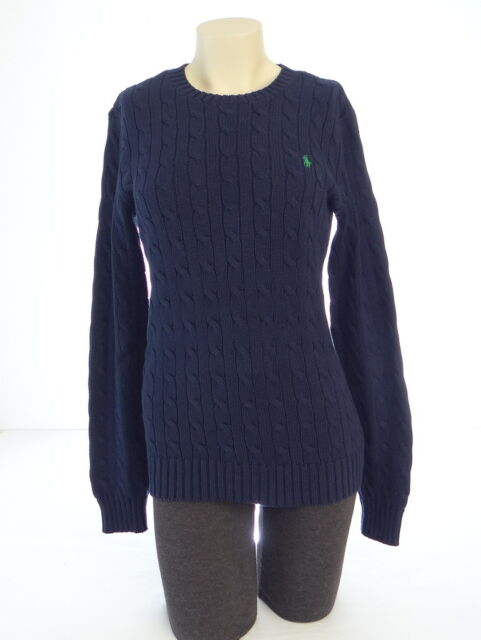 Polo Ralph Lauren Womens Cable Knit Jumper Sweater Round Neck Navy