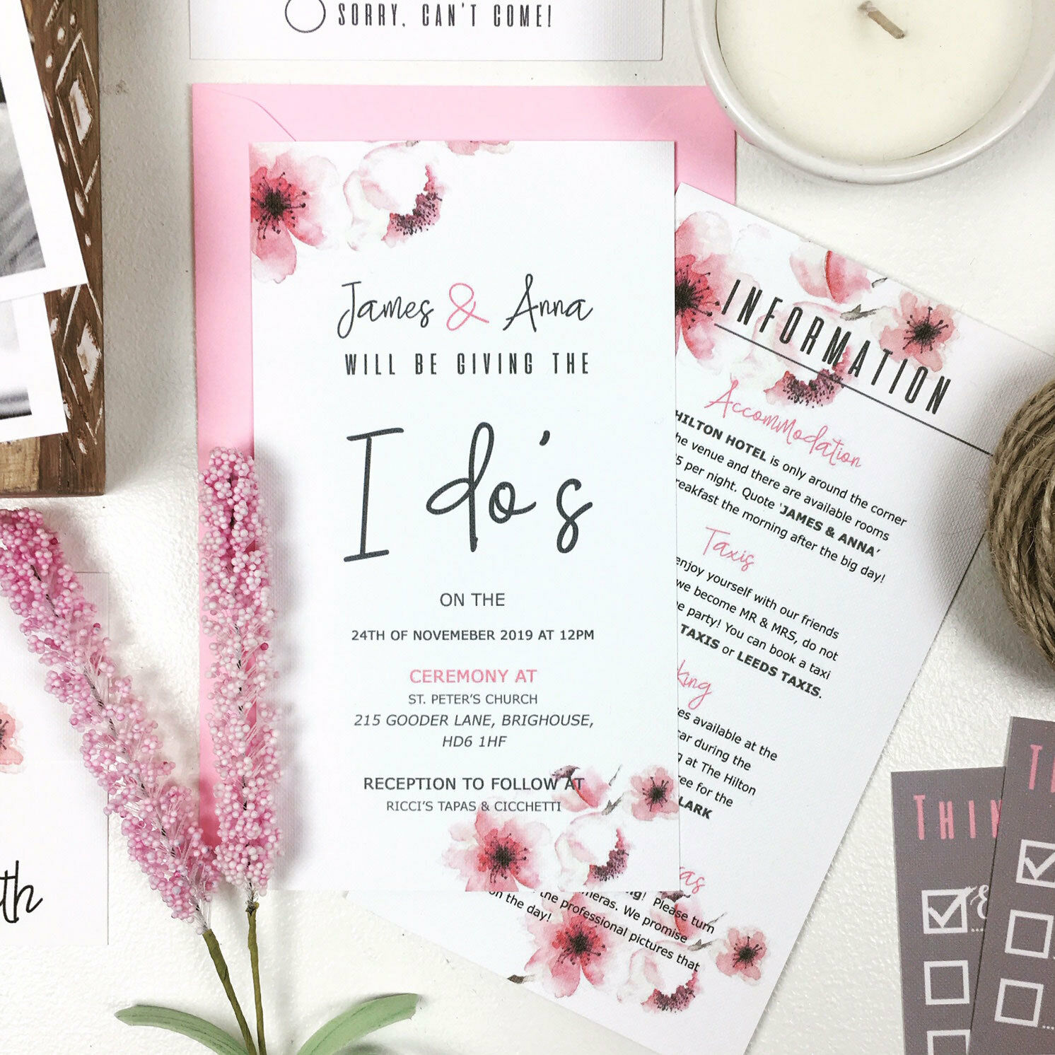 Personalised Or Wedding Invitations Cherry Blossom Day Or