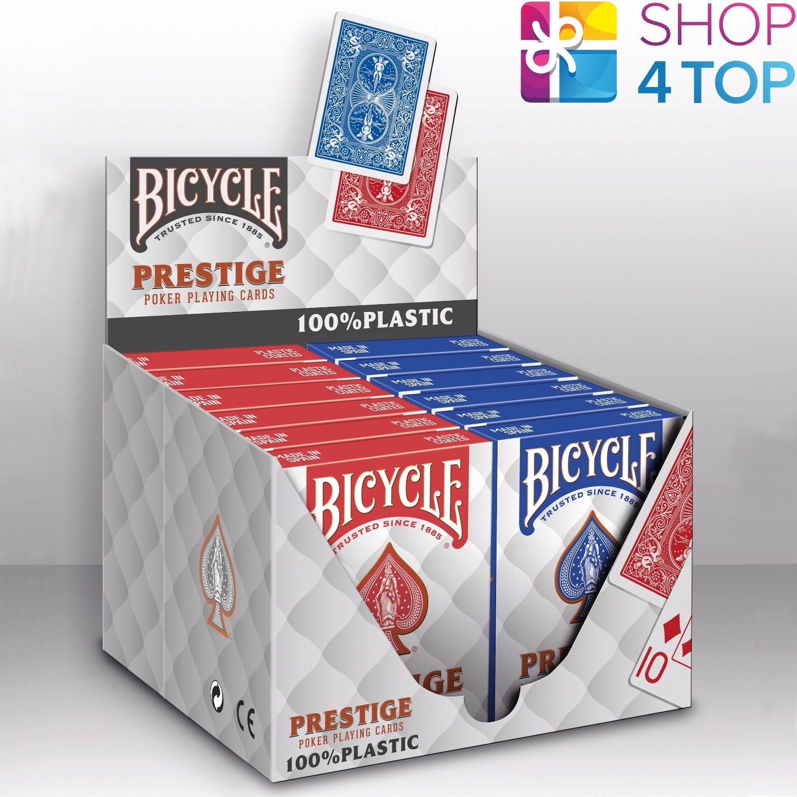 12 mazzi Bicycle Prestige 100% Plastica Poker Carte da Gioco Jumbo NUOVO