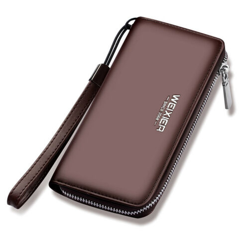 Men Leather Wallet Rfid Blocking Large Capacity Zipper Clutch with Wrist Strap