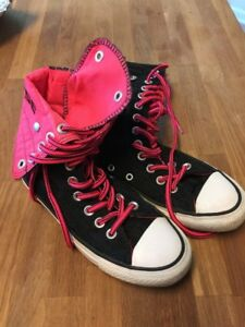 Converse All Stars Chuck Taylor Black Pink High Tops Fold