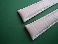 KALBSLEDERBAND weiß -Kroko- 20/18 speziell passend für Breitling-Faltschließen