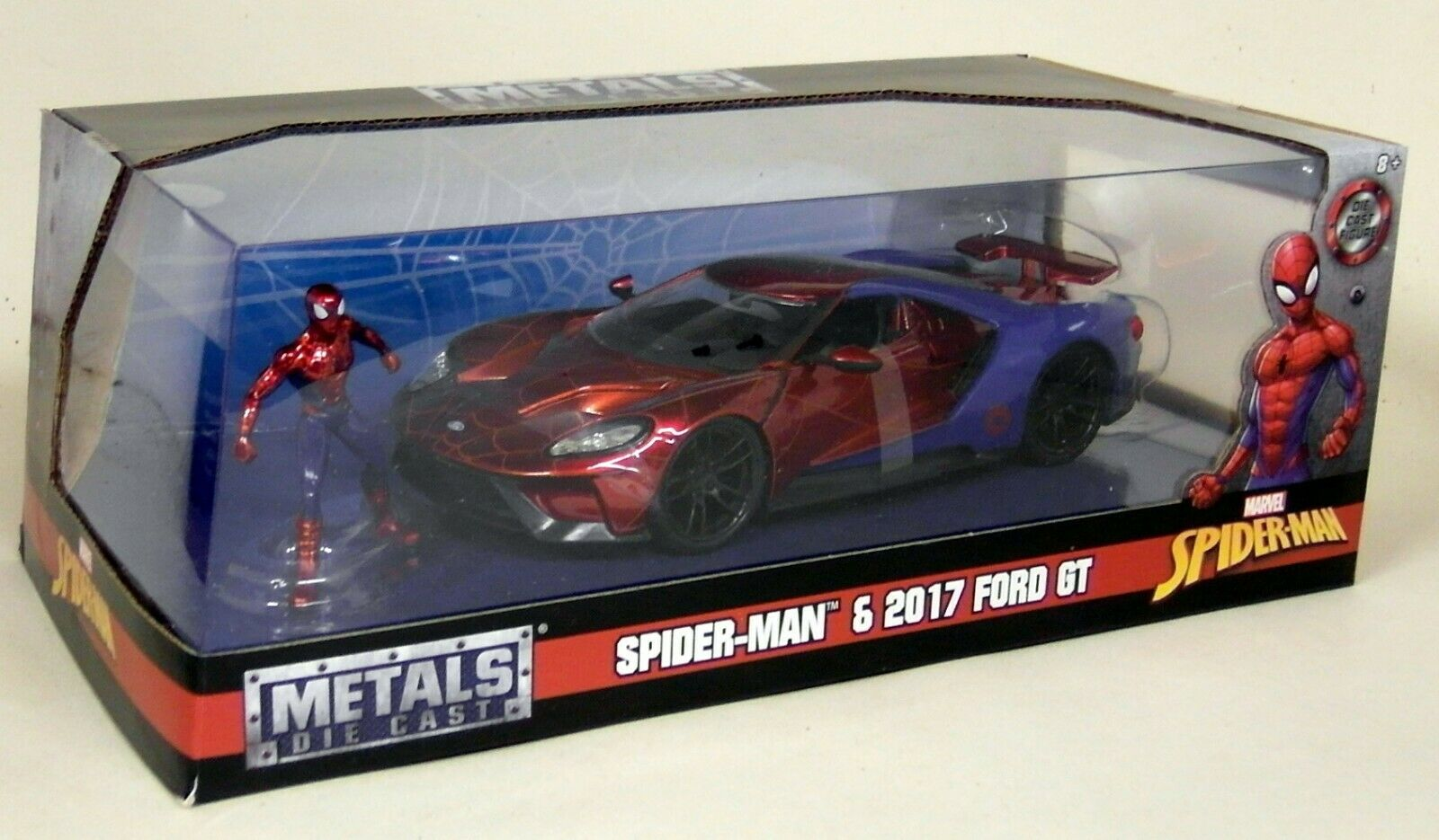 Jada 1 24 scale-Marvel Spiderman Figure  2017 Ford GT Diecast Voiture Modèle