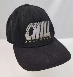 Vtg-Columbus-Chill-Baseball-Cap-Trucker-Hat-ECHL-Hockey-Adjustable-Black-New-Era