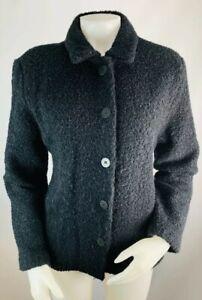 Eileen-Fisher-Large-Women-s-Nubby-Knit-Wool-Jacket-Coat-Black-Button-Down